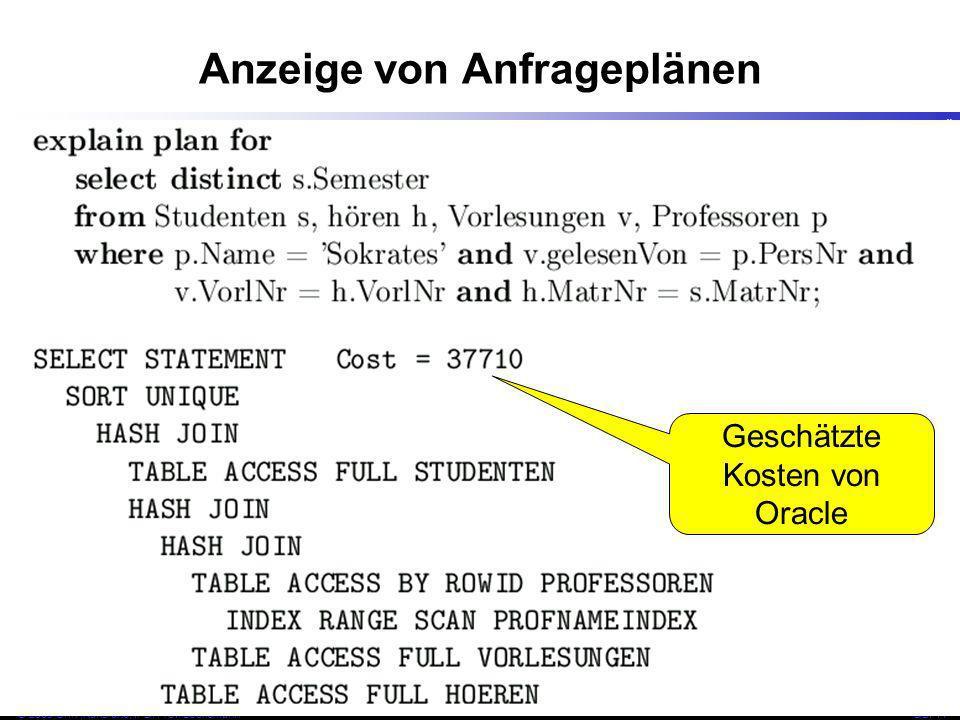 46 © 2009 Univ,Karlsruhe, IPD, Prof. LockemannDBI 11 Anzeige von Anfrageplänen Geschätzte Kosten von Oracle