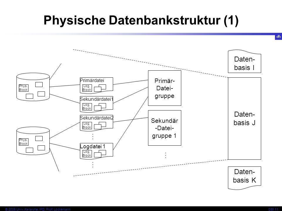 48 © 2009 Univ,Karlsruhe, IPD, Prof. LockemannDBI 11 Physische Datenbankstruktur (1) Phys. Block Primärdatei Sekundärdatei1 Log. Block Sekundärdatei2