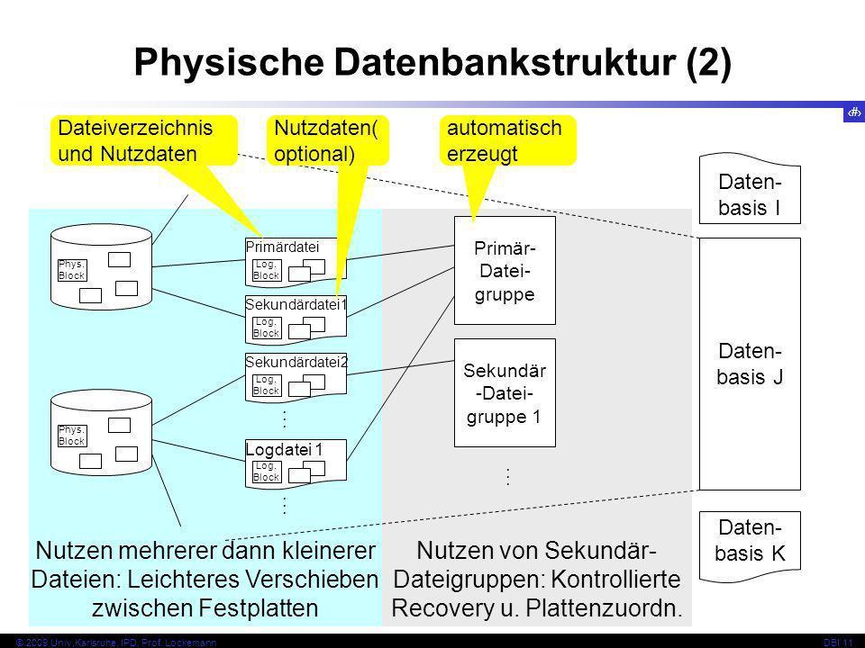 49 © 2009 Univ,Karlsruhe, IPD, Prof. LockemannDBI 11 Nutzen von Sekundär- Dateigruppen: Kontrollierte Recovery u. Plattenzuordn. Nutzen mehrerer dann