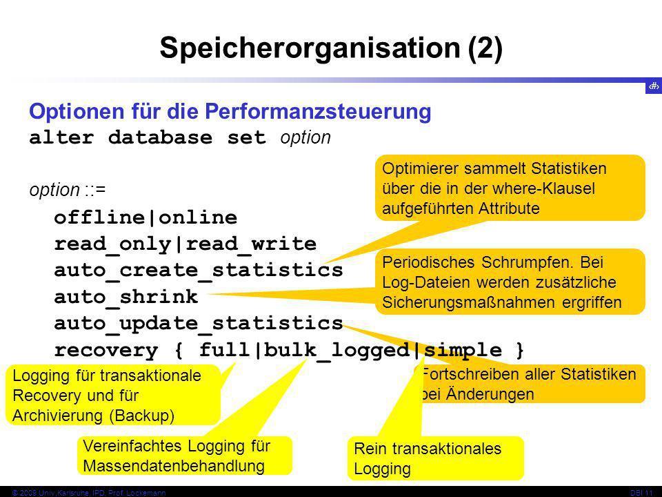 53 © 2009 Univ,Karlsruhe, IPD, Prof. LockemannDBI 11 Fortschreiben aller Statistiken bei Änderungen Speicherorganisation (2) Optionen für die Performa