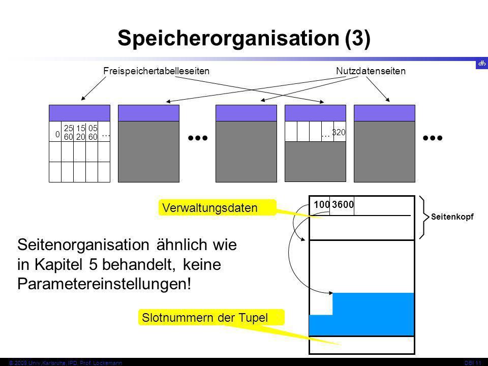 54 © 2009 Univ,Karlsruhe, IPD, Prof. LockemannDBI 11 FreispeichertabelleseitenNutzdatenseiten Speicherorganisation (3) 0 25 60 15 20 05 60... Seitenor