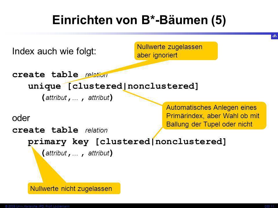 59 © 2009 Univ,Karlsruhe, IPD, Prof. LockemannDBI 11 Einrichten von B*-Bäumen (5) Index auch wie folgt: create table relation unique [clustered|nonclu