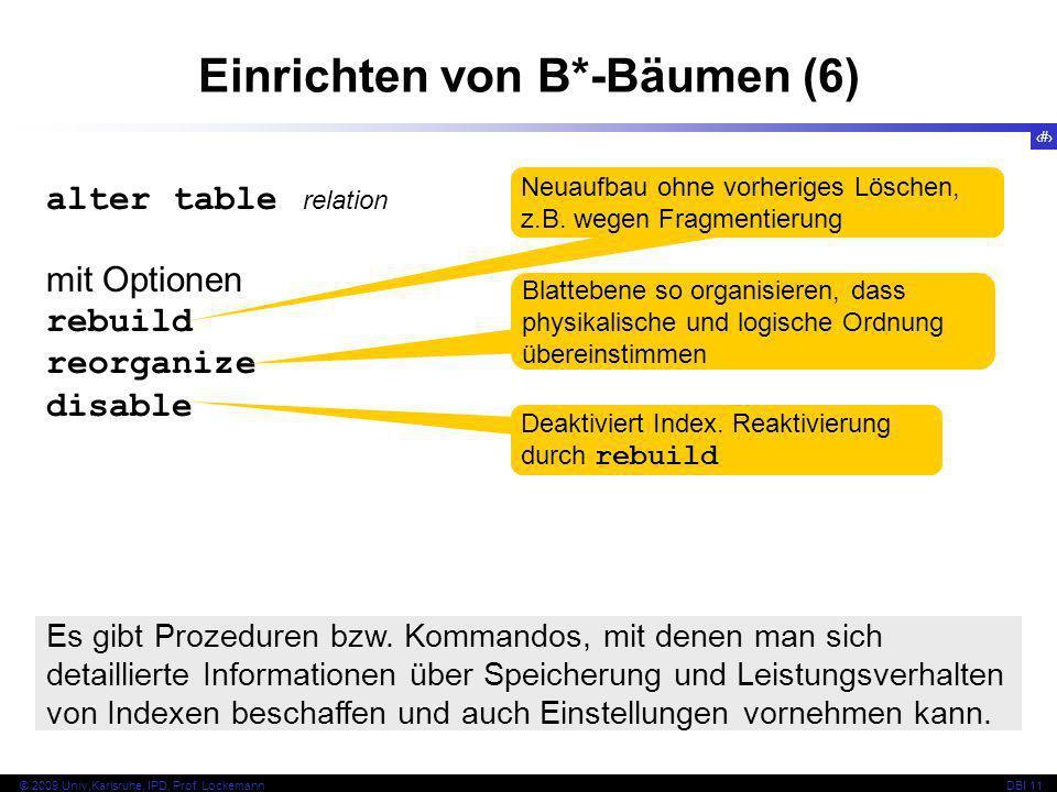 60 © 2009 Univ,Karlsruhe, IPD, Prof. LockemannDBI 11 Einrichten von B*-Bäumen (6) alter table relation mit Optionen rebuild reorganize disable Neuaufb