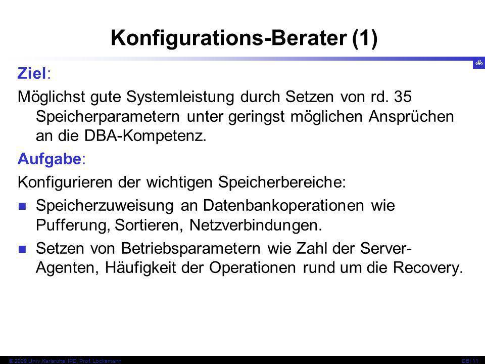 80 © 2009 Univ,Karlsruhe, IPD, Prof. LockemannDBI 11 Ziel: Möglichst gute Systemleistung durch Setzen von rd. 35 Speicherparametern unter geringst mög