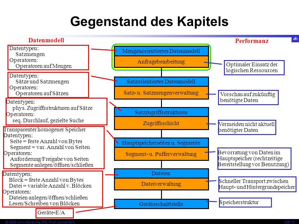 73 © 2009 Univ,Karlsruhe, IPD, Prof. LockemannDBI 10 Kapitel 10.4.1 Einige Grundsätze