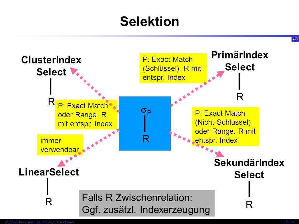 83 © 2009 Univ,Karlsruhe, IPD, Prof. LockemannDBI 10 P: Exact Match (Nicht-Schlüssel) oder Range.