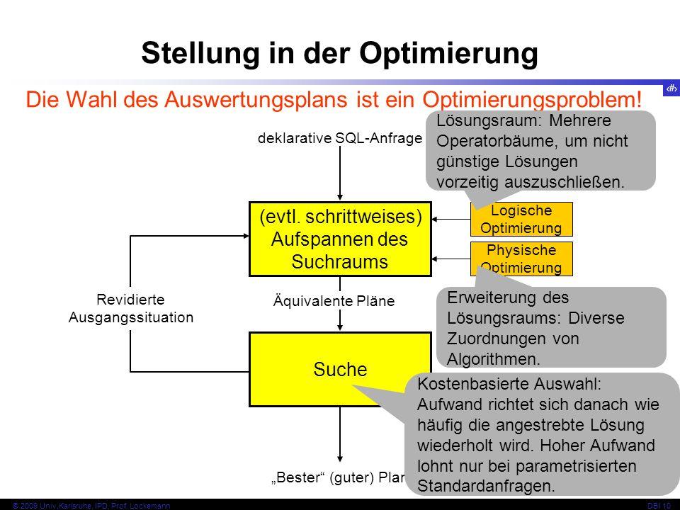 91 © 2009 Univ,Karlsruhe, IPD, Prof. LockemannDBI 10 Stellung in der Optimierung (evtl.