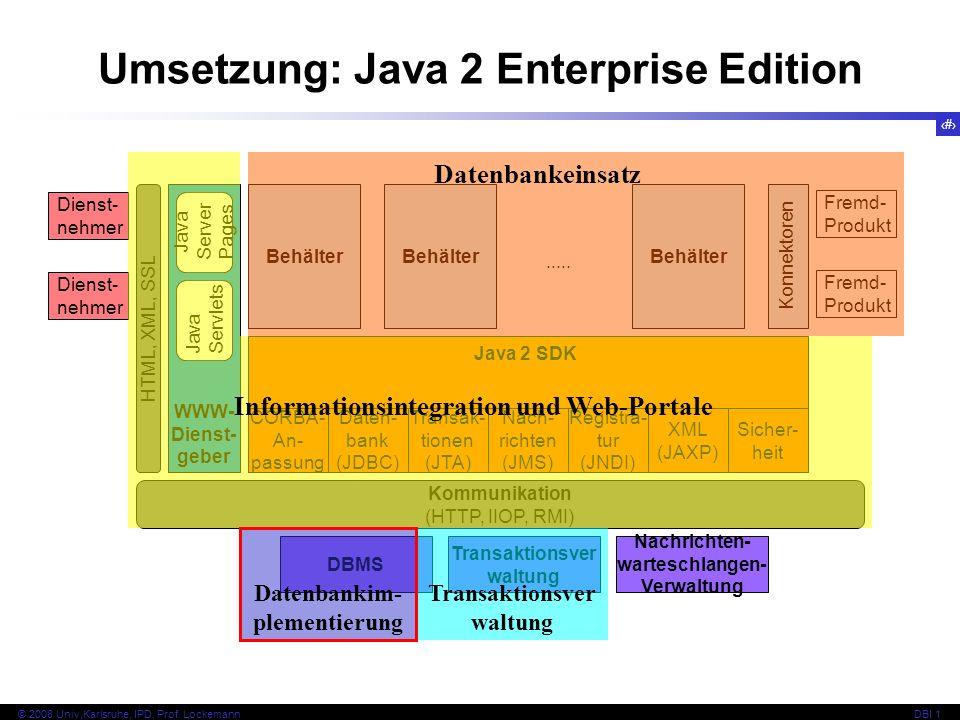8 © 2008 Univ,Karlsruhe, IPD, Prof. LockemannDBI 1 Kapitel 1.2 Grundsätze zentraler Architekturen