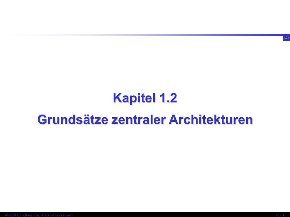 39 © 2008 Univ,Karlsruhe, IPD, Prof. LockemannDBI 1 Kapitel 1.4 Hauptaufgaben