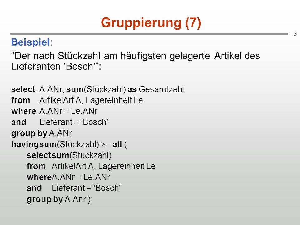 3 Gruppierung (7) Beispiel: Der nach Stückzahl am häufigsten gelagerte Artikel des Lieferanten Bosch : selectA.ANr, sum(Stückzahl) as Gesamtzahl fromArtikelArt A, Lagereinheit Le whereA.ANr = Le.ANr andLieferant = Bosch group by A.ANr havingsum(Stückzahl) >= all ( selectsum(Stückzahl) fromArtikelArt A, Lagereinheit Le whereA.ANr = Le.ANr andLieferant = Bosch group by A.Anr );