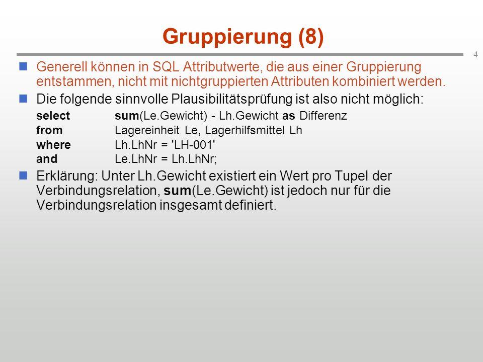 4 Gruppierung (8) Generell können in SQL Attributwerte, die aus einer Gruppierung entstammen, nicht mit nichtgruppierten Attributen kombiniert werden.