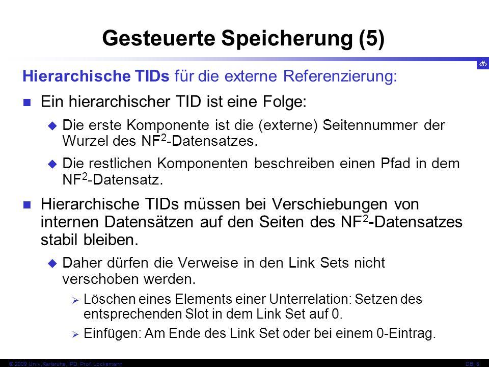 105 © 2009 Univ,Karlsruhe, IPD, Prof. LockemannDBI 8 Gesteuerte Speicherung (5) Hierarchische TIDs für die externe Referenzierung: Ein hierarchischer