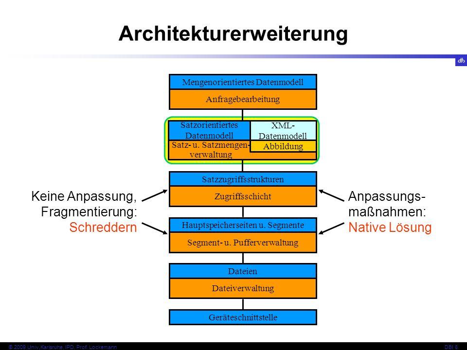 111 © 2009 Univ,Karlsruhe, IPD, Prof. LockemannDBI 8 Architekturerweiterung Dateien Dateiverwaltung Geräteschnittstelle Hauptspeicherseiten u. Segment