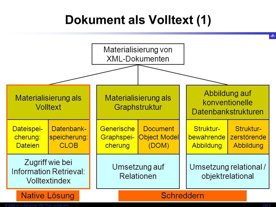 112 © 2009 Univ,Karlsruhe, IPD, Prof. LockemannDBI 8 Dokument als Volltext (1) Materialisierung von XML-Dokumenten Materialisierung als Volltext Datei