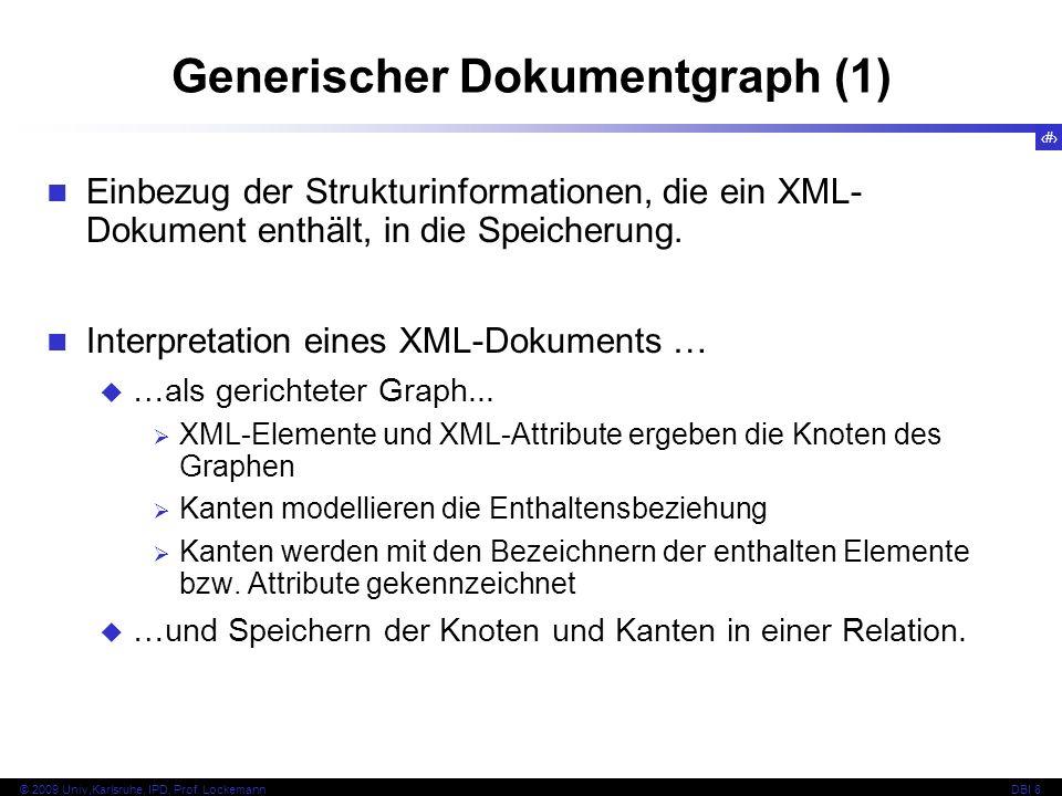 116 © 2009 Univ,Karlsruhe, IPD, Prof. LockemannDBI 8 Generischer Dokumentgraph (1) Einbezug der Strukturinformationen, die ein XML- Dokument enthält,