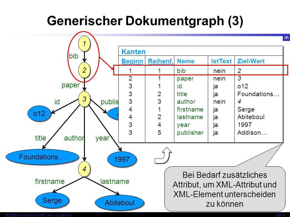 118 © 2009 Univ,Karlsruhe, IPD, Prof. LockemannDBI 8 1 1 2 2 3 3 bib paper o12 id Foundations… title 4 4 author Serge firstname Abiteboul 1997 year Ad