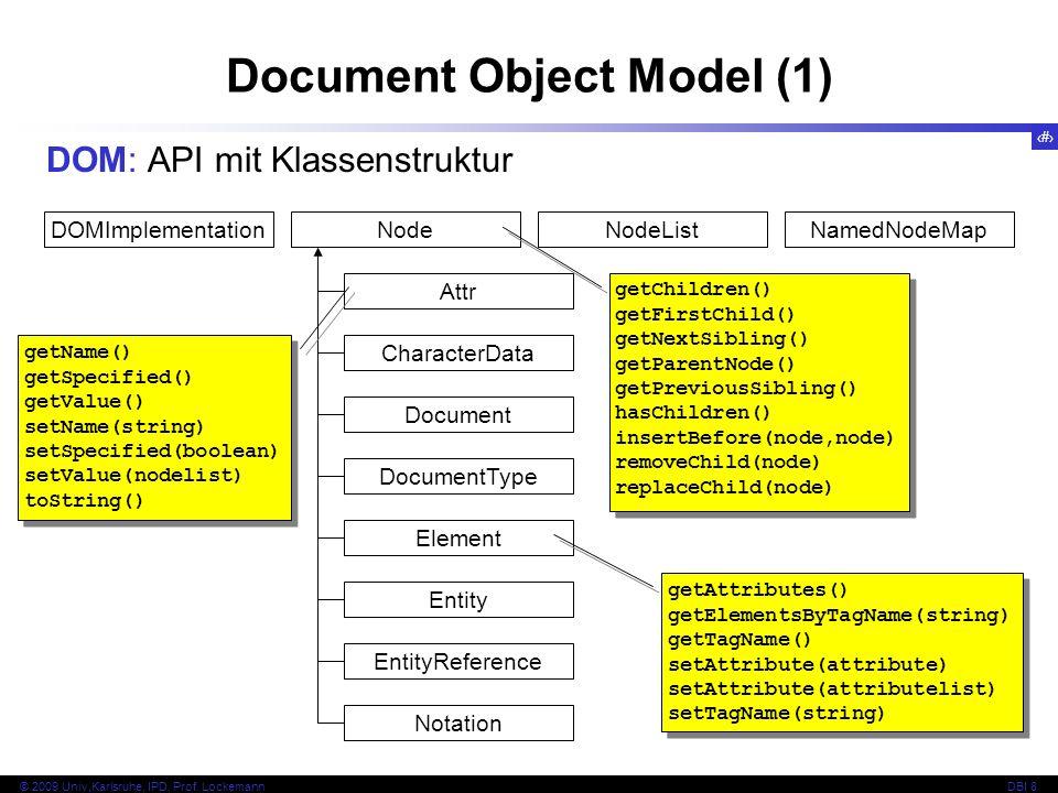 119 © 2009 Univ,Karlsruhe, IPD, Prof. LockemannDBI 8 Document Object Model (1) DOM: API mit Klassenstruktur DOMImplementationNodeNodeListNamedNodeMap