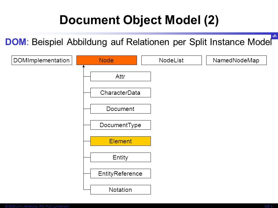 120 © 2009 Univ,Karlsruhe, IPD, Prof. LockemannDBI 8 Document Object Model (2) DOM: Beispiel Abbildung auf Relationen per Split Instance Model DOMImpl