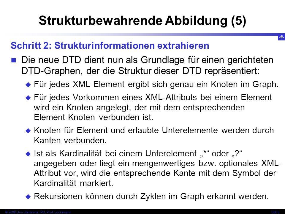 128 © 2009 Univ,Karlsruhe, IPD, Prof. LockemannDBI 8 Strukturbewahrende Abbildung (5) Schritt 2: Strukturinformationen extrahieren Die neue DTD dient
