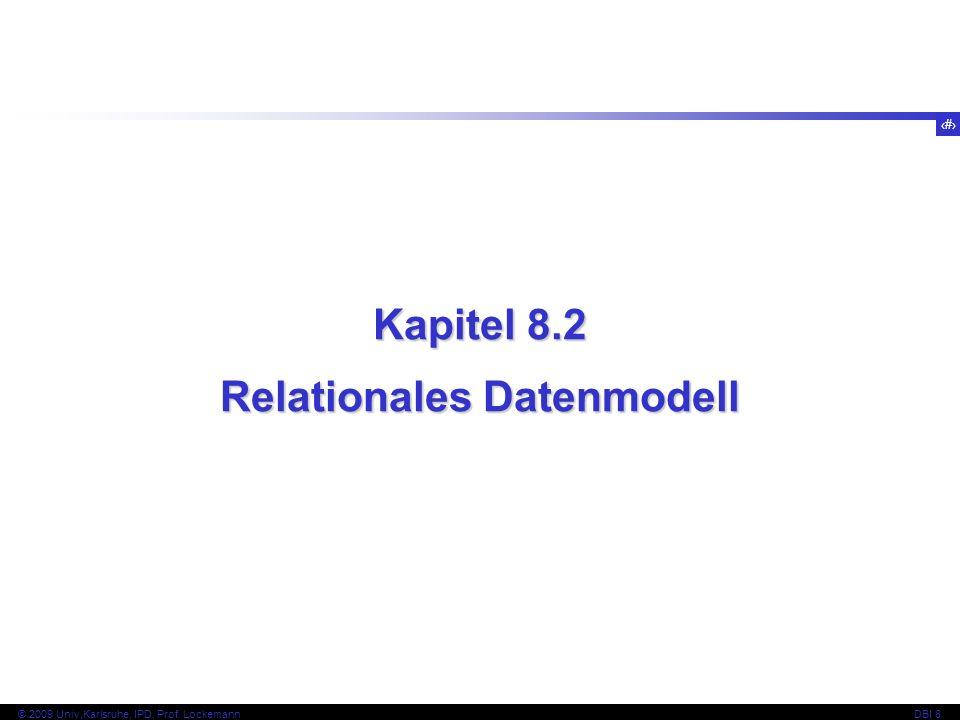 14 © 2009 Univ,Karlsruhe, IPD, Prof. LockemannDBI 8 Kapitel 8.2 Relationales Datenmodell