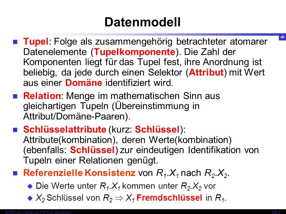 15 © 2009 Univ,Karlsruhe, IPD, Prof. LockemannDBI 8 Datenmodell Tupel: Folge als zusammengehörig betrachteter atomarer Datenelemente (Tupelkomponente)