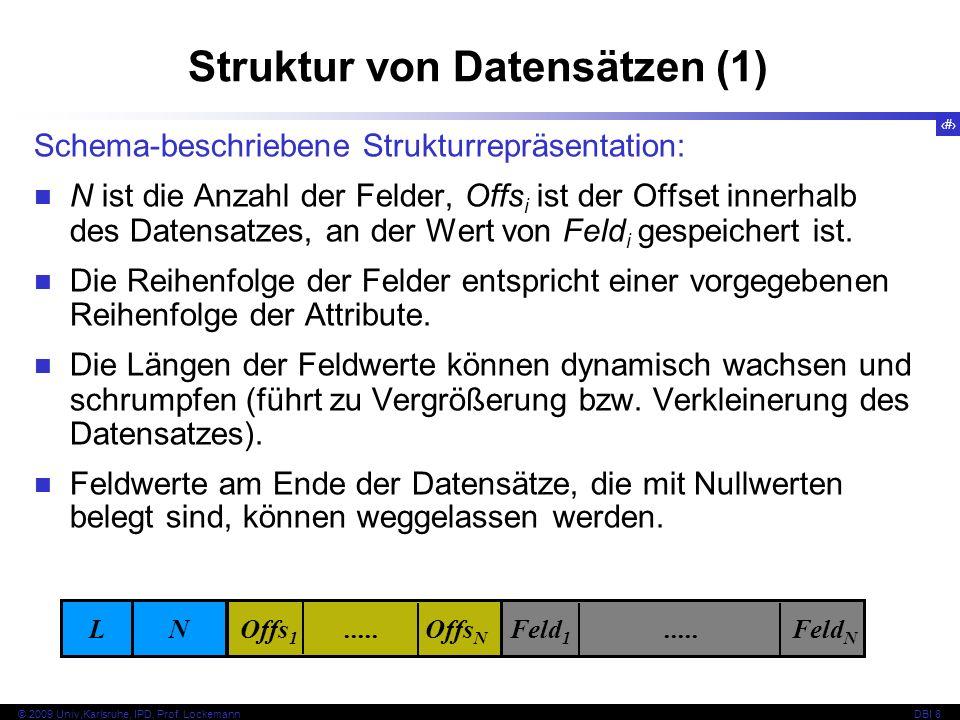 17 © 2009 Univ,Karlsruhe, IPD, Prof. LockemannDBI 8 Schema-beschriebene Strukturrepräsentation: N ist die Anzahl der Felder, Offs i ist der Offset inn