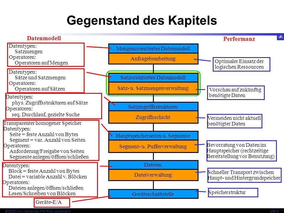 2 © 2009 Univ,Karlsruhe, IPD, Prof. LockemannDBI 8 Gegenstand des Kapitels Mengenorientiertes Datenmodell Datenmodell Dateien Dateiverwaltung Gerätesc