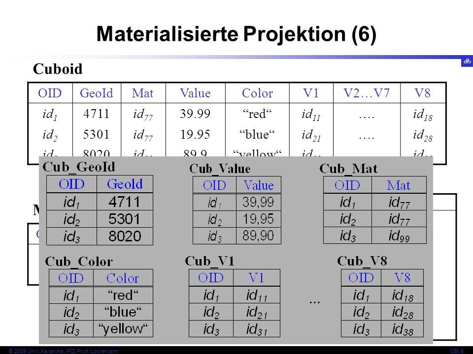 28 © 2009 Univ,Karlsruhe, IPD, Prof. LockemannDBI 8 Materialisierte Projektion (6) OIDGeoIdMatValueColorV1V2…V7V8 id 1 4711id 77 39.99redid 11 ….id 18