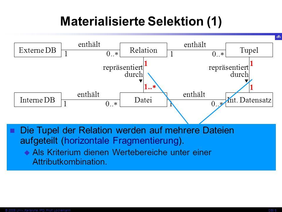 30 © 2009 Univ,Karlsruhe, IPD, Prof. LockemannDBI 8 Materialisierte Selektion (1) Externe DBRelationTupel Interne DBDateiInt. Datensatz repräsentiert