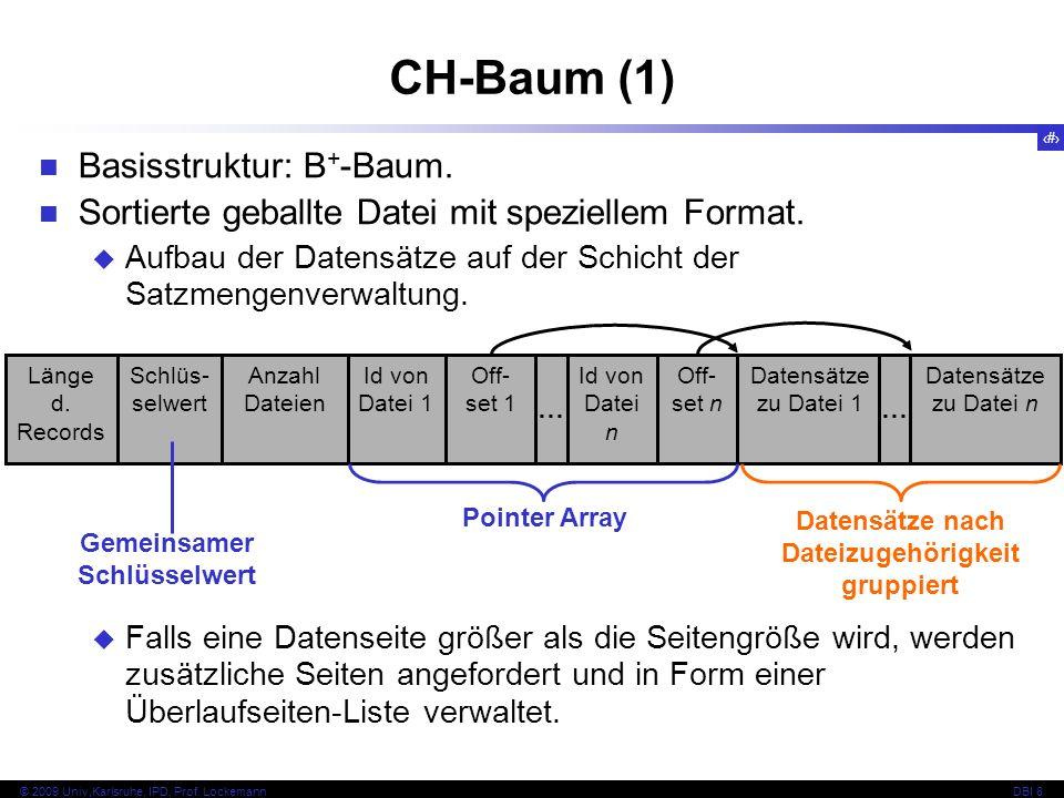 45 © 2009 Univ,Karlsruhe, IPD, Prof. LockemannDBI 8 Basisstruktur: B + -Baum. Sortierte geballte Datei mit speziellem Format. Aufbau der Datensätze au