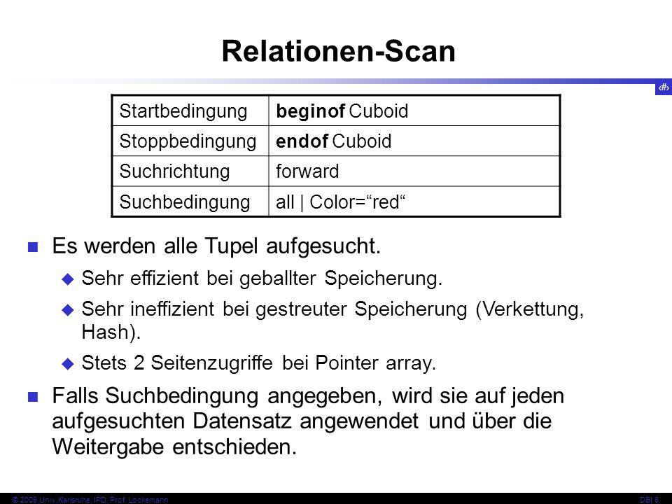 50 © 2009 Univ,Karlsruhe, IPD, Prof. LockemannDBI 8 Relationen-Scan Es werden alle Tupel aufgesucht. Sehr effizient bei geballter Speicherung. Sehr in