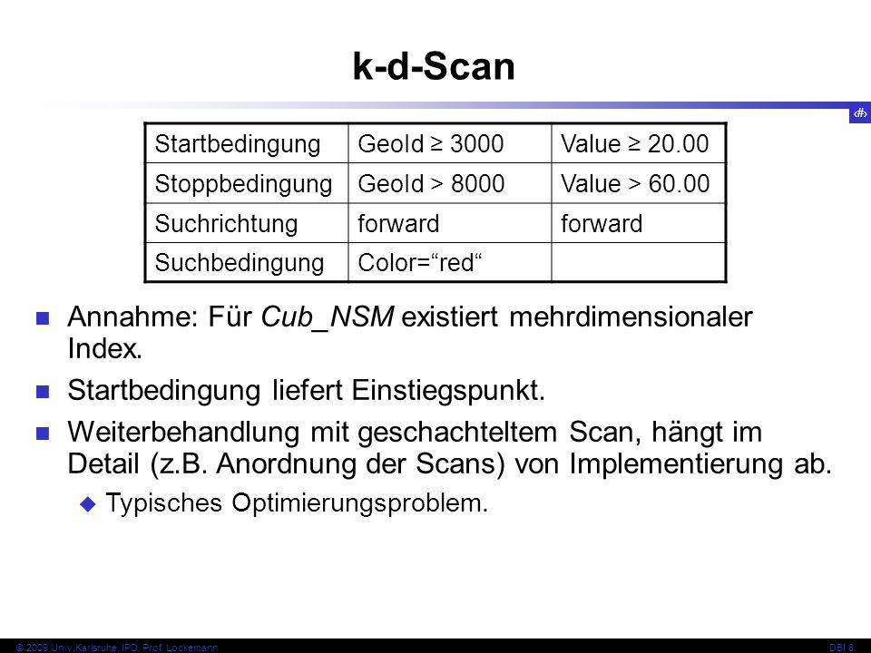 55 © 2009 Univ,Karlsruhe, IPD, Prof. LockemannDBI 8 k-d-Scan Annahme: Für Cub_NSM existiert mehrdimensionaler Index. Startbedingung liefert Einstiegsp