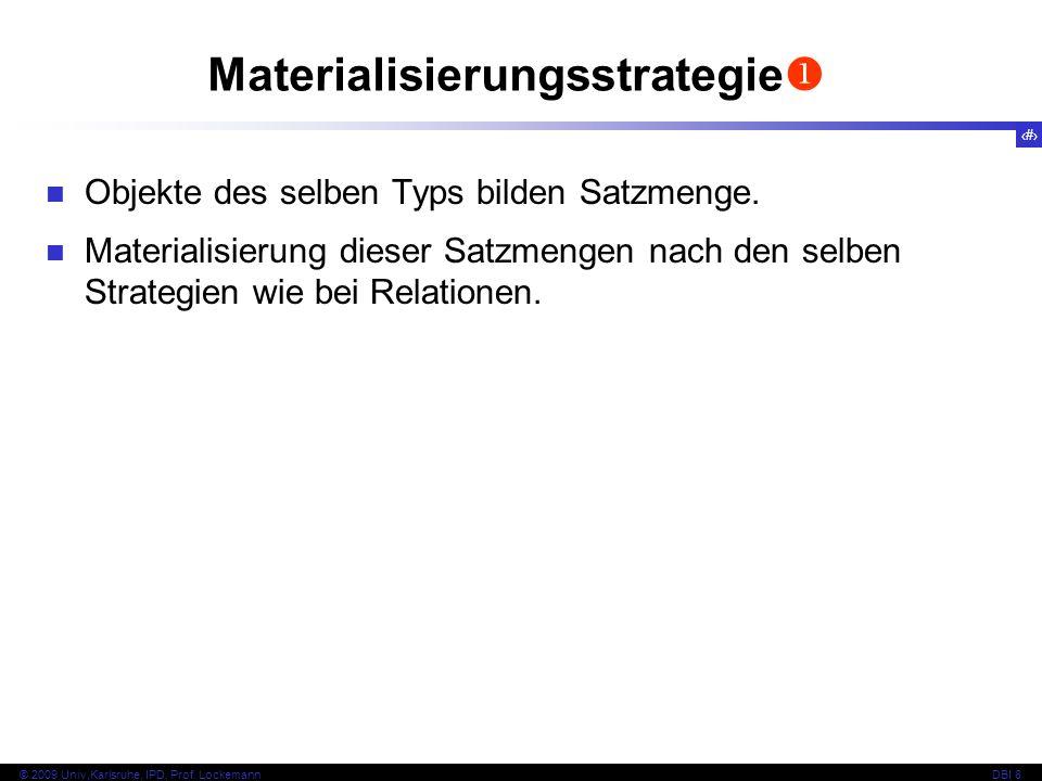 59 © 2009 Univ,Karlsruhe, IPD, Prof. LockemannDBI 8 Materialisierungsstrategie Objekte des selben Typs bilden Satzmenge. Materialisierung dieser Satzm