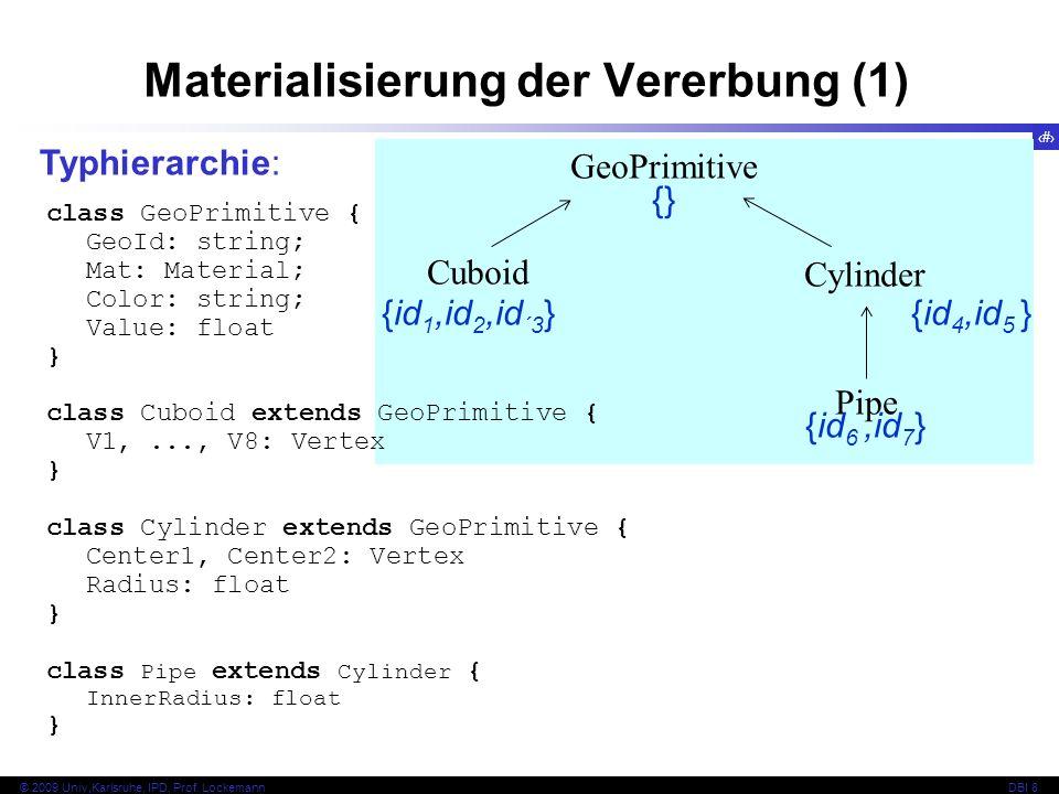 62 © 2009 Univ,Karlsruhe, IPD, Prof. LockemannDBI 8 Materialisierung der Vererbung (1) Typhierarchie: GeoPrimitive Cylinder Cuboid Pipe {} {id 1,id 2,