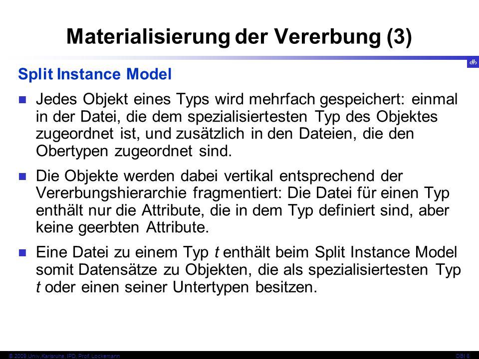 65 © 2009 Univ,Karlsruhe, IPD, Prof. LockemannDBI 8 Materialisierung der Vererbung (3) Split Instance Model Jedes Objekt eines Typs wird mehrfach gesp