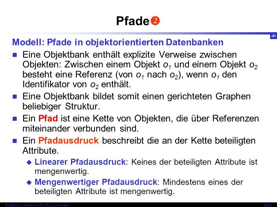69 © 2009 Univ,Karlsruhe, IPD, Prof. LockemannDBI 8 Pfade Modell: Pfade in objektorientierten Datenbanken Eine Objektbank enthält explizite Verweise z