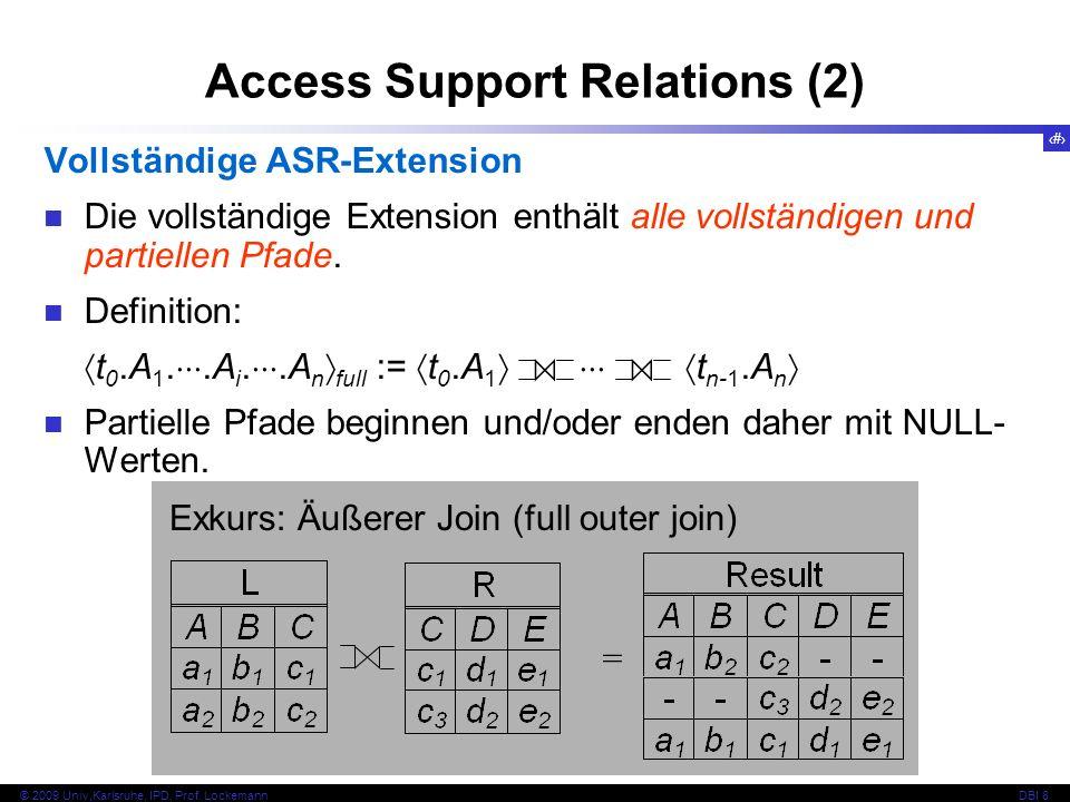 77 © 2009 Univ,Karlsruhe, IPD, Prof. LockemannDBI 8 Access Support Relations (2) Vollständige ASR-Extension Die vollständige Extension enthält alle vo
