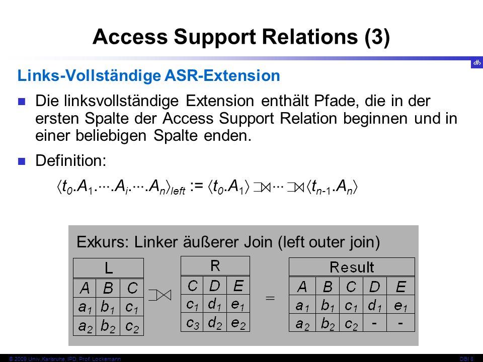 79 © 2009 Univ,Karlsruhe, IPD, Prof. LockemannDBI 8 Access Support Relations (3) Links-Vollständige ASR-Extension Die linksvollständige Extension enth
