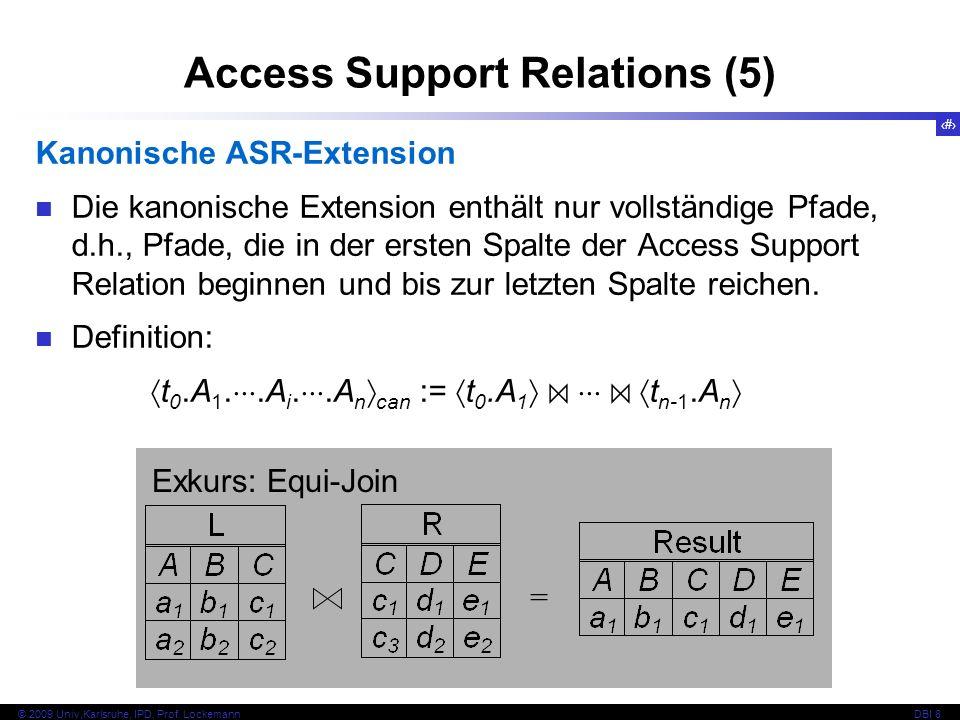83 © 2009 Univ,Karlsruhe, IPD, Prof. LockemannDBI 8 Access Support Relations (5) Kanonische ASR-Extension Die kanonische Extension enthält nur vollstä