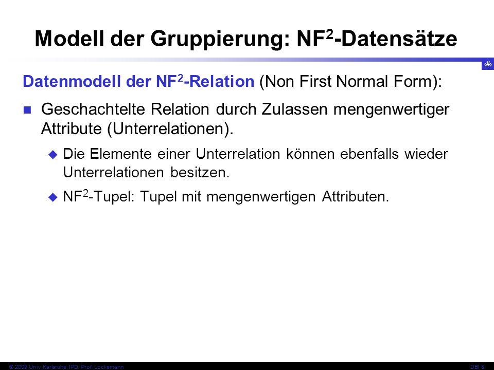 96 © 2009 Univ,Karlsruhe, IPD, Prof. LockemannDBI 8 Modell der Gruppierung: NF 2 -Datensätze Datenmodell der NF 2 -Relation (Non First Normal Form): G