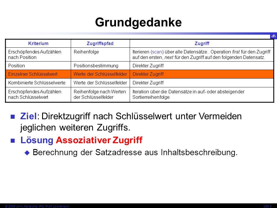 22 © 2008 Univ,Karlsruhe, IPD, Prof. LockemannDBI 6 Kapitel 6.3.1 Hash-Funktion