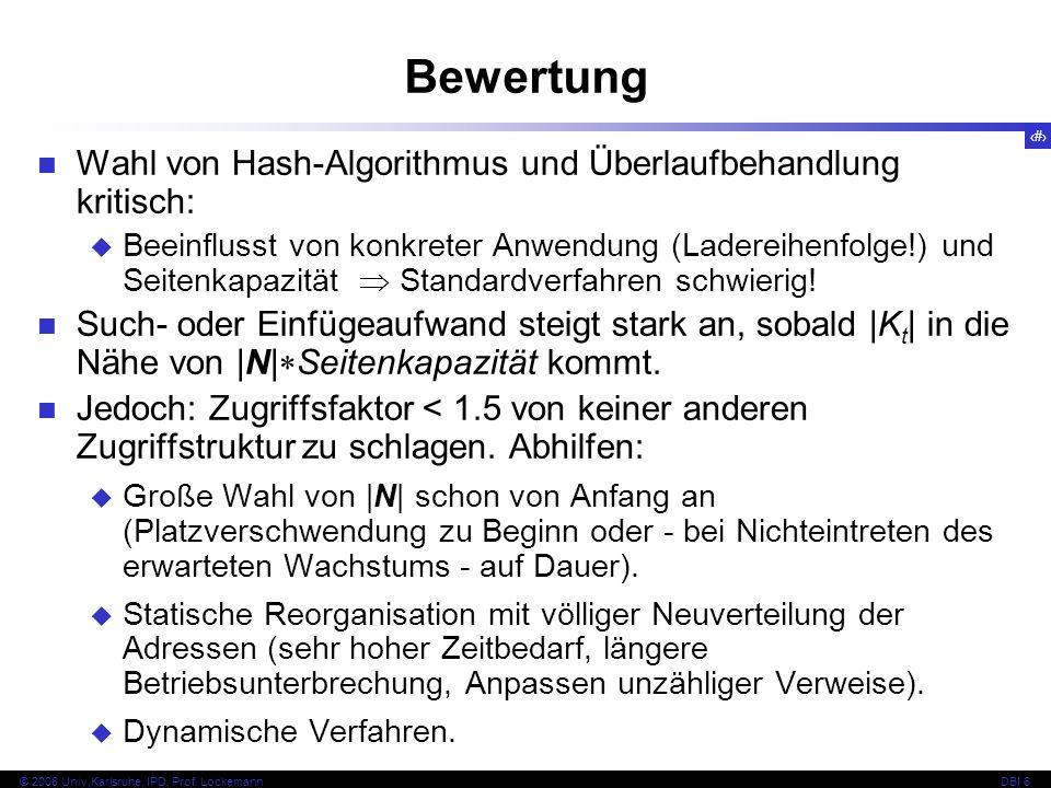 39 © 2008 Univ,Karlsruhe, IPD, Prof. LockemannDBI 6 Kapitel 6.3.3 Dynamische Hash-Verfahren