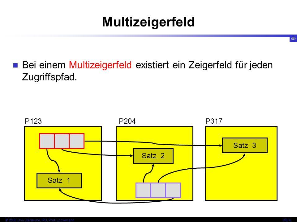 52 © 2008 Univ,Karlsruhe, IPD, Prof. LockemannDBI 6 Kapitel 6.4.2 Erweiterbares Hashing