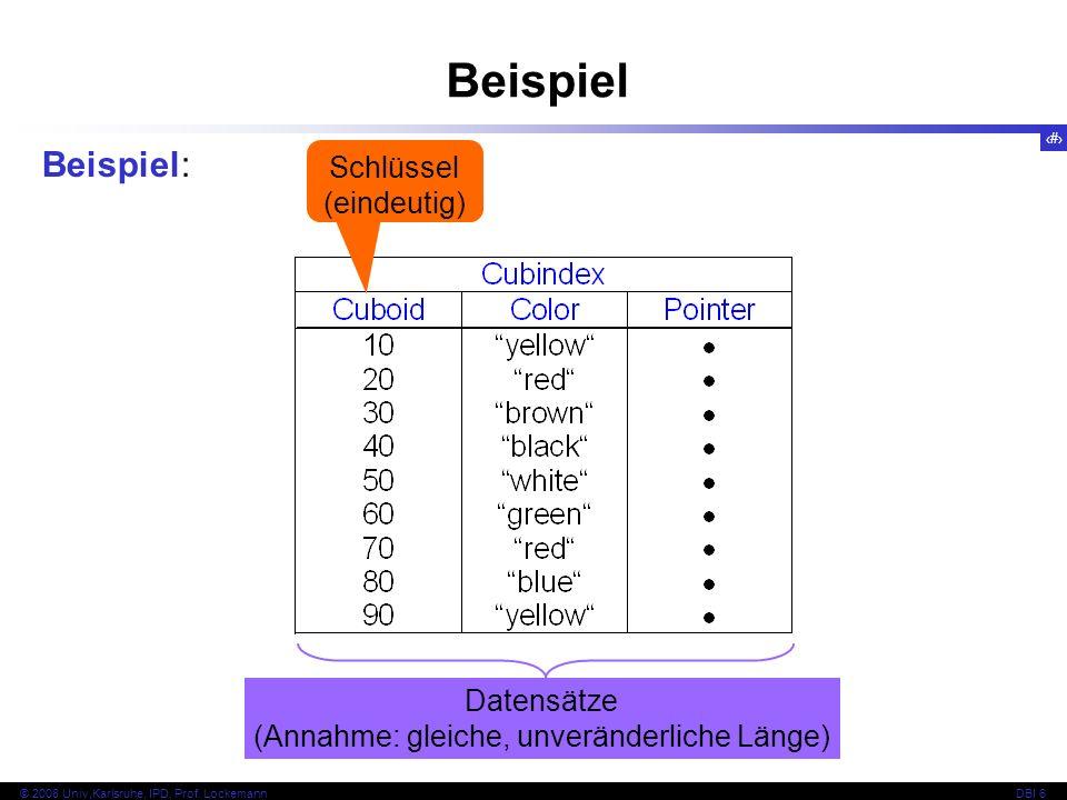 73 © 2008 Univ,Karlsruhe, IPD, Prof.LockemannDBI 6 Beispiel Annahme: k=2, k*=1 10...