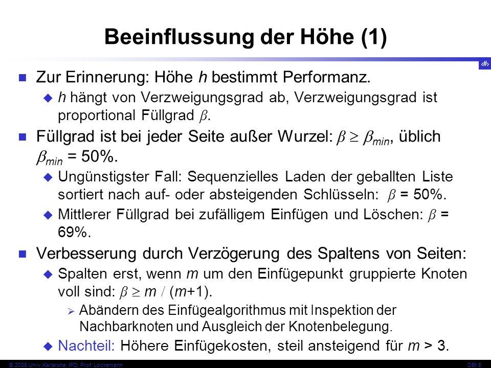 93 © 2008 Univ,Karlsruhe, IPD, Prof.LockemannDBI 6 Zur Erinnerung: Höhe h bestimmt Performanz.