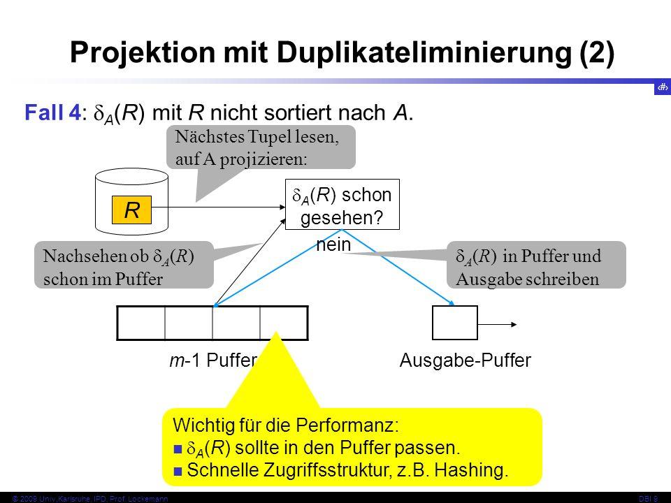 28 © 2009 Univ,Karlsruhe, IPD, Prof. LockemannDBI 9 Fall 4: A (R) mit R nicht sortiert nach A.