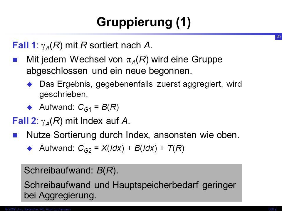 30 © 2009 Univ,Karlsruhe, IPD, Prof. LockemannDBI 9 Gruppierung (1) Schreibaufwand: B(R).