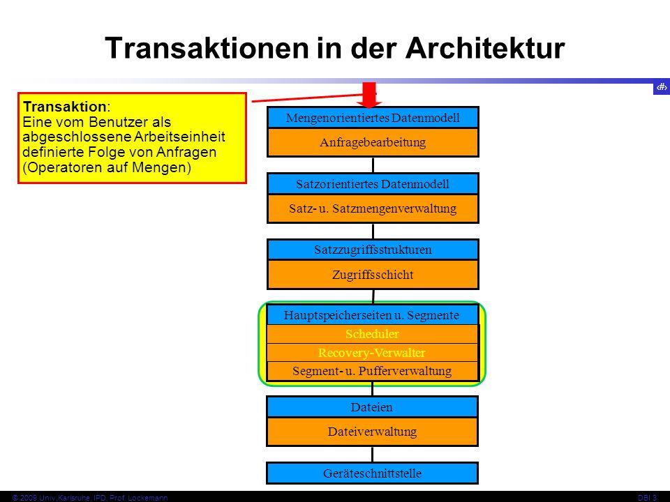 16 © 2009 Univ,Karlsruhe, IPD, Prof. LockemannDBI 3 Transaktionen in der Architektur Mengenorientiertes Datenmodell Anfragebearbeitung Satzorientierte