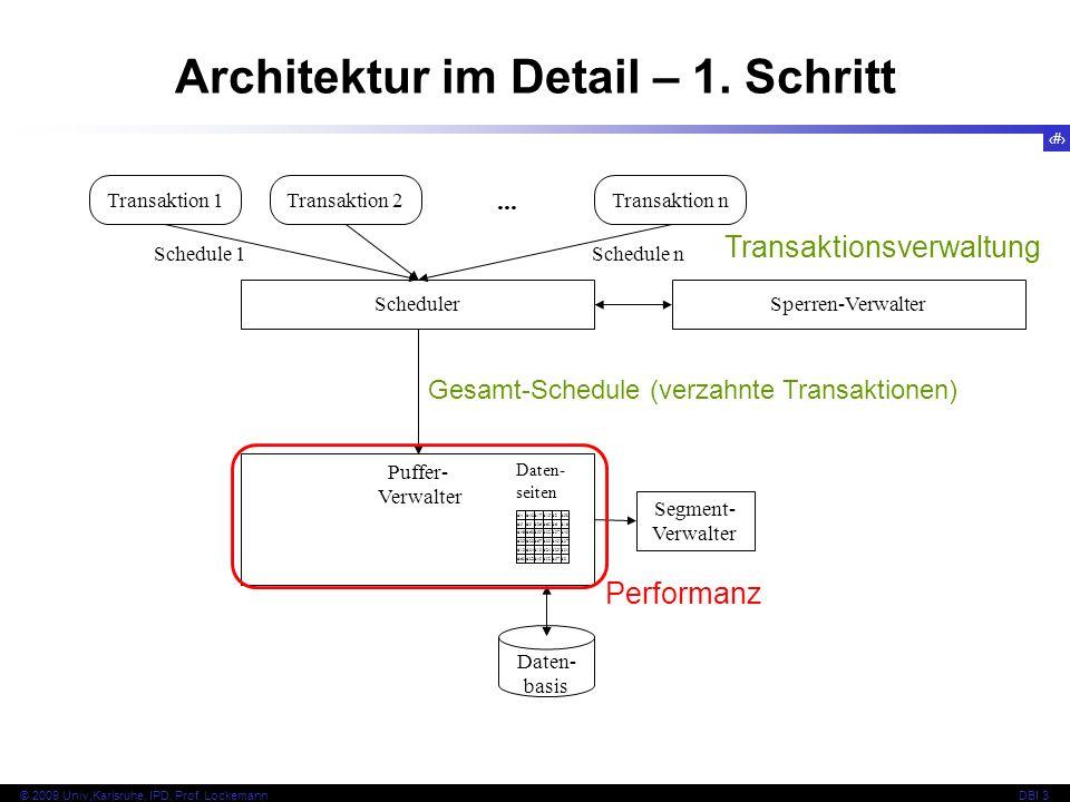 17 © 2009 Univ,Karlsruhe, IPD, Prof. LockemannDBI 3 Architektur im Detail – 1. Schritt Transaktion 1Transaktion 2... Transaktion n Scheduler Segment-
