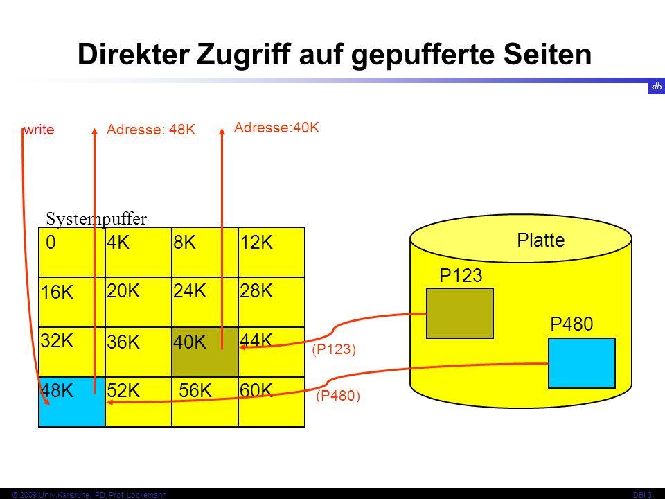 30 © 2009 Univ,Karlsruhe, IPD, Prof. LockemannDBI 3 Platte P480 P123 Systempuffer 04K8K12K 28K 44K 60K 40K 48K 24K20K 16K 32K 36K 56K52K (P123) (P480)